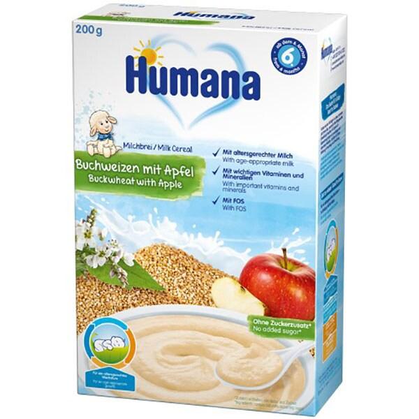 Cereale HUMANA cu lapte, hrisca si mar 77558, 6 luni+, 200g