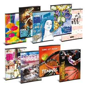 Set 10 caiete pentru scoala ASTRA POLONIA, dictando, A5, 52 file, legatura capsata, diverse modele