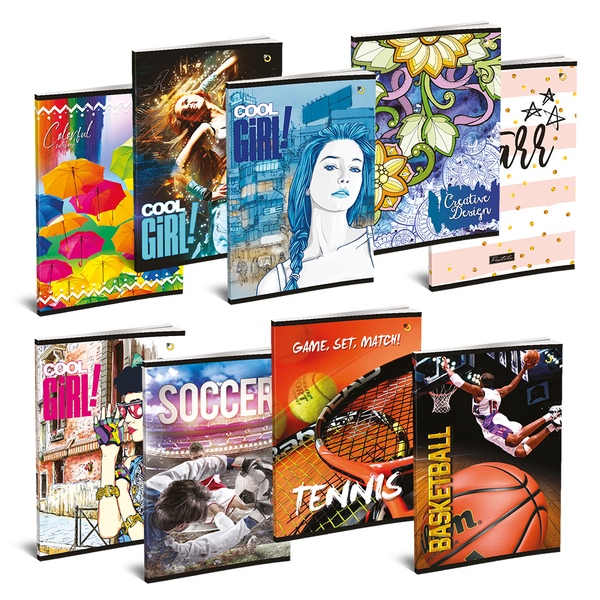 Set 10 caiete pentru scoala ASTRA POLONIA, matematica, A5, 52 file, legatura capsata, diverse modele