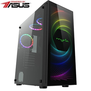 Sistem Desktop Gaming MYRIA Vision V34WIN Powered by Asus, Intel Core i5-9600KF pana la 4.6GHz, 16GB, 1TB + SSD 240GB, NVIDIA GeForce GTX 1660 Super 6GB, Windows 10 Home