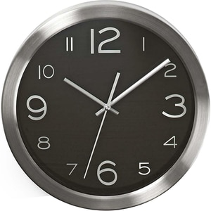 Ceas de perete NEDIS CLWA010MT30BK, 12 cifre, diametru 30 cm, fundal negru, inox
