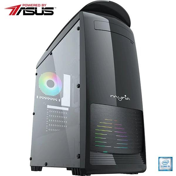 Sistem Desktop Gaming MYRIA Digital V27WIN Powered by Asus, Intel Core i5-9400F pana la 4.1GHz, 8GB, 1TB + SSD 240GB, NVIDIA GeForce GTX 1650 4GB, Windows 10 Home