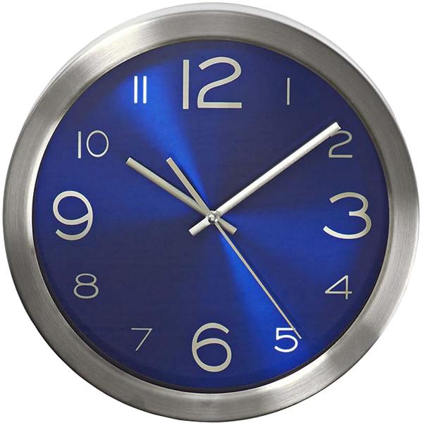 Ceas de perete NEDIS CLWA010MT30BU, 12 cifre, diametru 30 cm, fundal albastru, inox