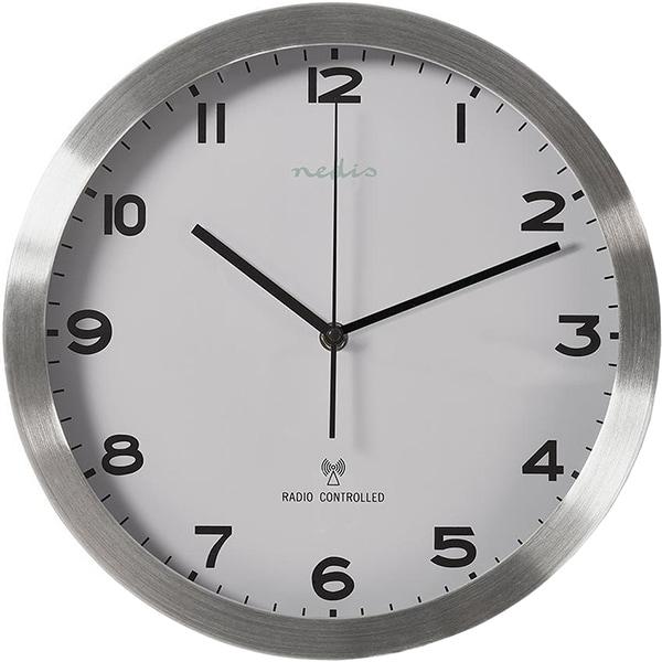 Ceas de perete NEDIS CLWA110RWT, 12 cifre, diametru 34 cm, fundal alb, argintiu