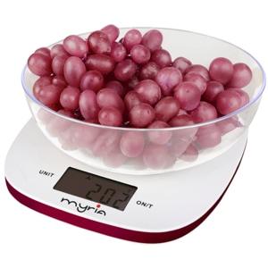 Cantar de bucatarie MYRIA MY4401RD, 5kg, alb-roz