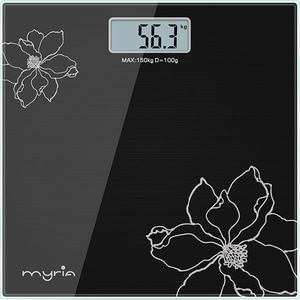 Cantar corporal MYRIA MY4805BK, 150kg, electronic, sticla securizata, negru