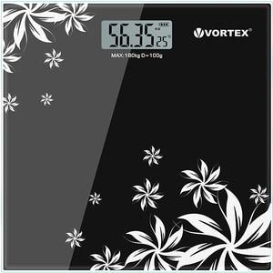 Cantar corporal VORTEX VO4802, 180kg, electronic, sticla securizata, negru