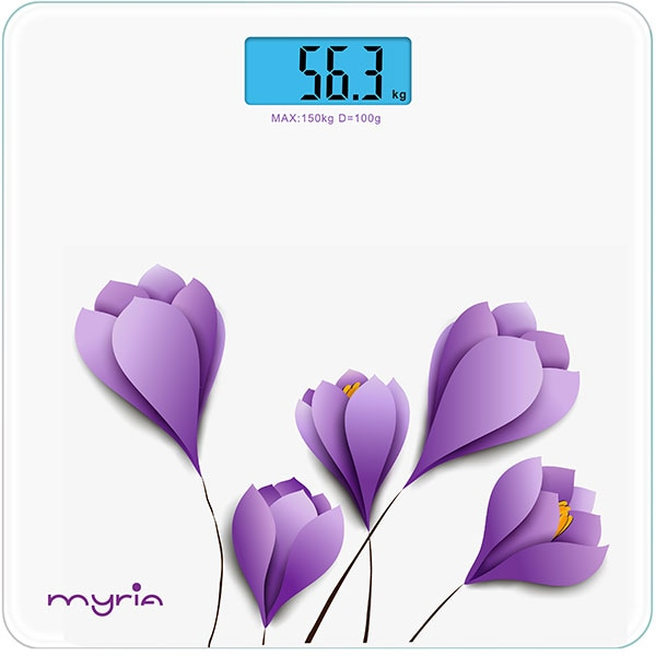 Cantar corporal MYRIA MY4806WH, 150kg, electronic, sticla securizata, alb