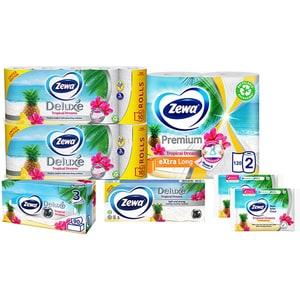 Pachet promo ZEWA Tropical Dreams, 7 produse: 2 x Hartie Igienica, Role bucatarie, Batiste nazale, Servetele faciale, 2 x Hartie igienica umeda