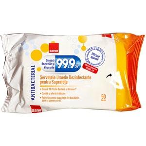 Servetele umede antibacteriene SANO 99.9%, 50 bucati