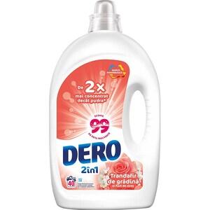 Detergent lichid DERO 2in1 Trandafir, 2 l, 40 spalari