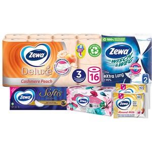 Pachet promo Zewa, 6 produse: Hartie Igienica, Role bucatarie, Batiste nazale, Servetele faciale, 2 x Hartie igienica umeda