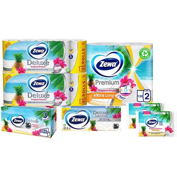 Pachet Promo Zewa Tropical Dreams 7 Produse 2 X Hartie Igienica Role Bucatarie Batiste Nazale Servetele