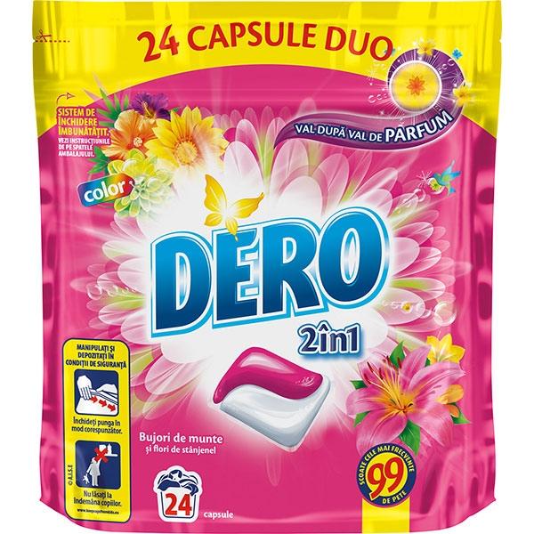 Detergent capsule DERO Bujori de munte, 24 capsule