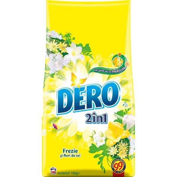Detergent DERO 2in1 Frezie si Flori de tei, 10kg, 100 spalari