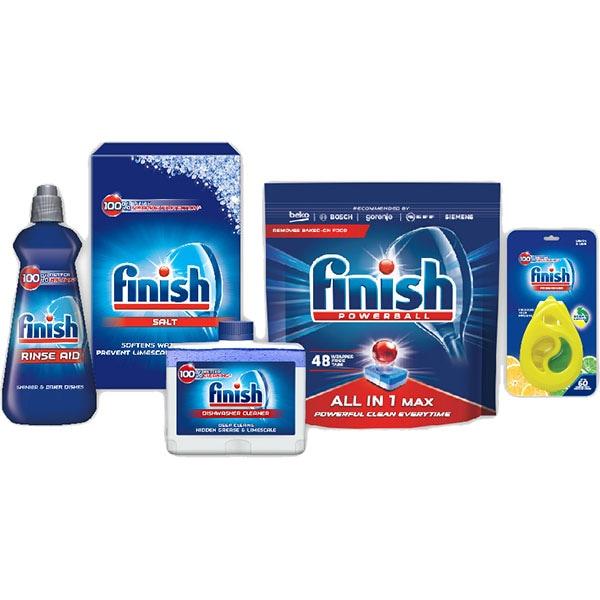 Pachet FINISH Starter Pack: Detergent vase, Sare, Solutie clatire, Solutie curatare, Odorizant