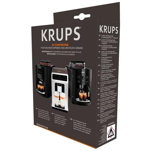 Kit decalcifiere KRUPS XS530010: 2 plicuri decalcifiere + 1 test pentru a verifica duritatea apei + 10 tablete decalcifiere