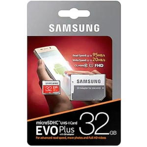 Card de memorie SAMSUNG EVO Plus MicroSDXC 32GB, Clasa 10 UHS-I, 100MBs, adaptor