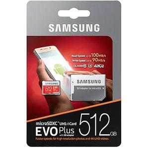 Card de memorie SAMSUNG EVO Plus MicroSDXC 512GB, Clasa 10 UHS-I, 100MBs, adaptor
