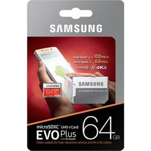 Card de memorie SAMSUNG EVO Plus MicroSDXC 64GB, Clasa 10 UHS-I, 100MBs, adaptor