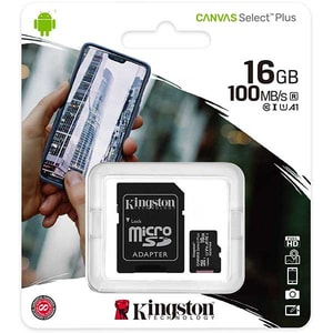 Card de memorie KINGSTON Canvas Select Plus microSDHC 16GB, Clasa 10 UHS-I, U1, V10, 100MBs, adaptor