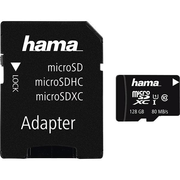 Card de memorie HAMA 124160 microSDXC, 128GB, clasa 10 UHS-I, 80MBs, adaptor SD