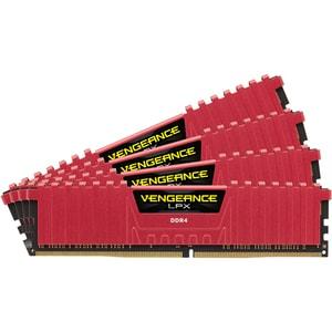 Memorie desktop CORSAIR Vengeance LPX Red, 4x4GB DDR4, 2133MHz, CL13, CMK16GX4M4A2133C13R