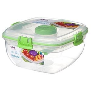 Caserola cu tacamuri si bol pentru dressing SISTEMA Salad To Go 4040095, 1.1l, plastic, transparent