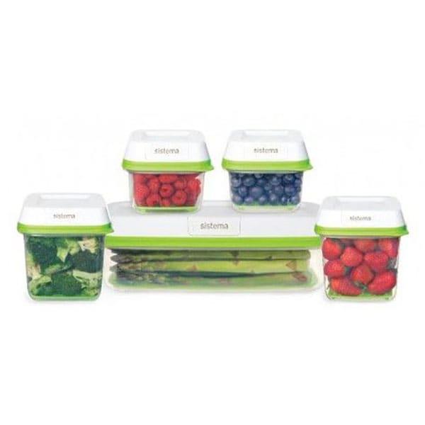 Set caserole SISTEMA FreshWorks  53155, 5 piese, 0.591-1.9l, alb-verde