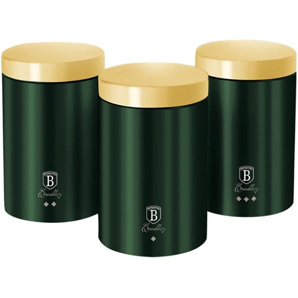 Set recipiente pentru bucatarie BERLINGER HAUS Emerald BH/6272, 3 piese, otel, verde