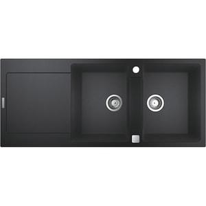 Chiuveta bucatarie GROHE K500 31647AP0, 2 cuve, picurator reversibil, compozit quartz, negru