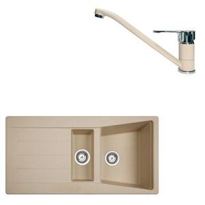 Pachet chiuveta TEKA Lumina 60 TG 11/2B 1D,  1 1/2 cuve, granit + baterie MF2 Granit Topasbeige