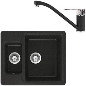 Pachet chiuveta TEKA LUNA 60, compozit + baterie MF 2, schwarzmetallic
