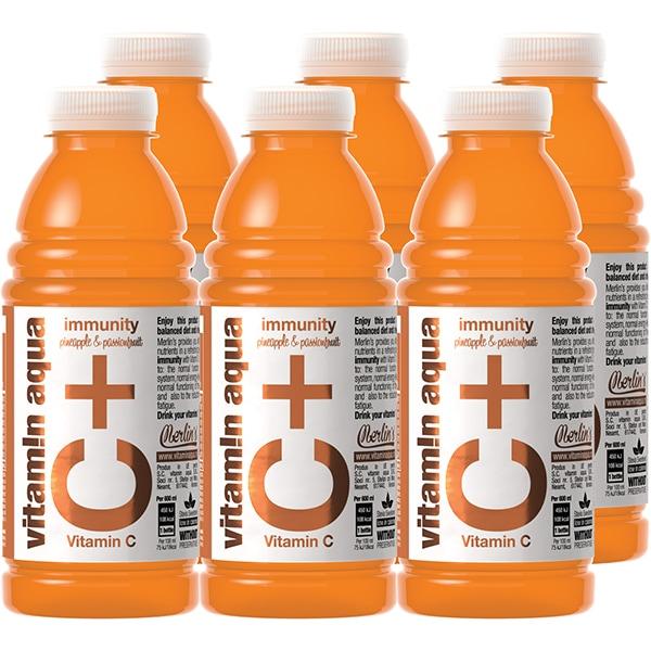 Apa cu vitamine C+ VITAMIN AQUA Pineapple&Passionfruit bax 0.6L x 6 sticle