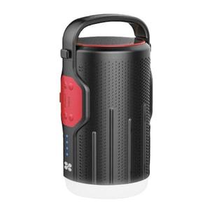 Lanterna LED reincarcabila pentru camping cu Powerbank 10000mAh si boxa wireless incorporate, PROMATE CampMate-2, negru-rosu