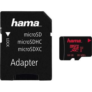 Card de memorie HAMA 123982 microSDXC, 64GB, clasa 10 UHS-I Class 3, 80MBs, adaptor SD