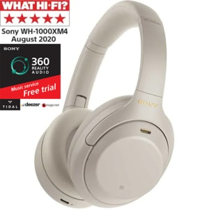 Casti SONY WH1000XM4, Bluetooth, NFC, Over-Ear, Microfon, Noise Cancelling, argintiu