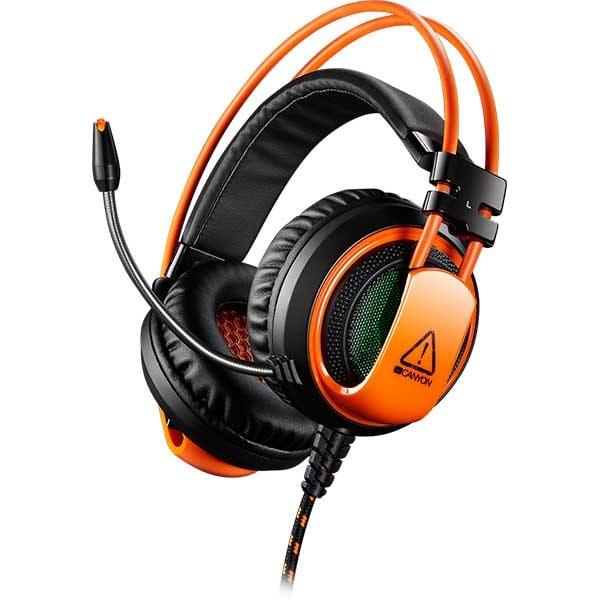 Casti Gaming CANYON Corax CND-SGHS5A, multiplatforma, 3.5mm, negru-portocaliu