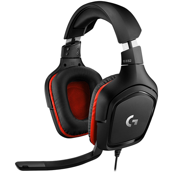 Casti Gaming LOGITECH G332, stereo, multiplatforma, 3.5mm, negru-rosu