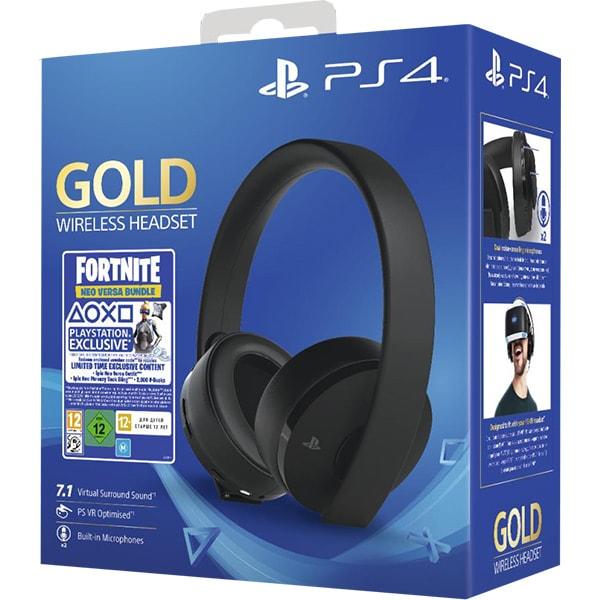 Casti Gaming Wireless SONY PlayStation (PS4) Gold, 7.1 surround, multiplatforma, USB, 3.5mm, negru Fortnite Neo Versa Bundle