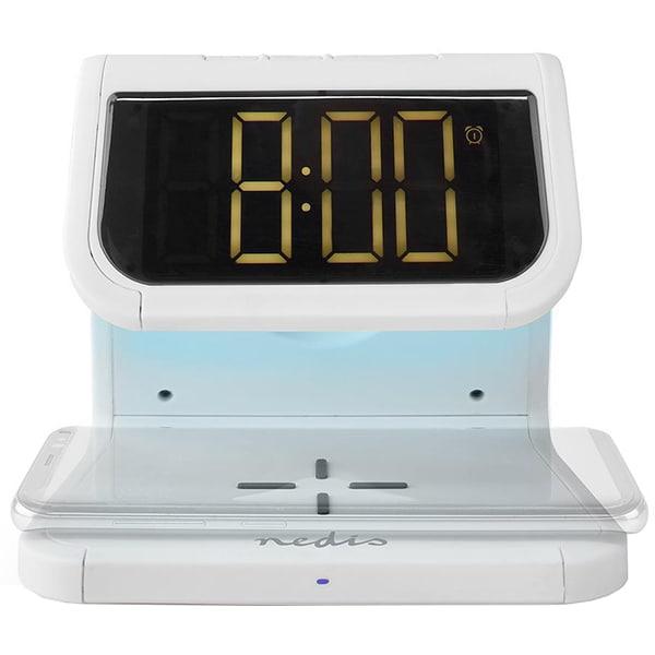 Ceas cu alarma NEDIS WCACQ10W1WT, Afisaj alb, Wi-Fi, alb
