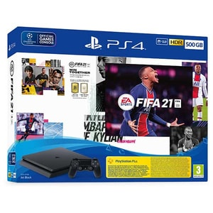 Consola SONY PlayStation 4 Slim (PS4 Slim) 500GB, Jet Black, F-Chassis + joc FIFA 21