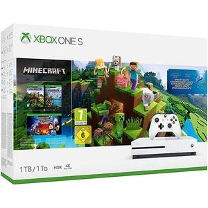 Consola MICROSOFT Xbox One S 1TB, alb + joc Minecraft Complete Bundle (cod download)