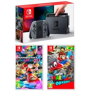 Consola NINTENDO Switch Mario Pack (Joy-Con Grey - incl. jocuri Mario Kart 8 Deluxe + Super Mario Odyssey)