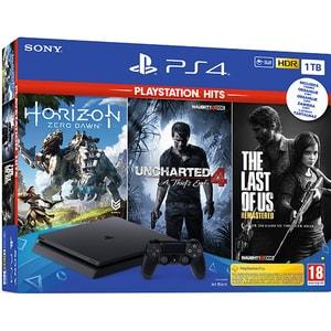 Consola SONY PlayStation 4 Slim (PS4 Slim) 1TB, Jet Black + 3 jocuri Horizon Zero Dawn, Uncharted 4, The Last of Us Remastered