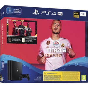 Consola SONY PlayStation 4 Pro (PS4 Pro), 1TB, Jet Black + joc FIFA 20, PS Plus 14 zile, voucher FIFA Ultimate Team