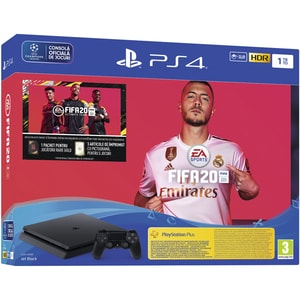 Consola SONY PlayStation 4 Slim (PS4 Slim), 1TB, Jet Black + joc FIFA 20, PS Plus 14 zile, voucher FIFA Ultimate Team