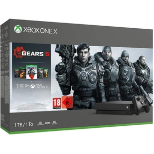 Consola MICROSOFT Xbox One X 1TB, negru + joc Gears 5, include toate jocurile din seria Gears of War (coduri download)
