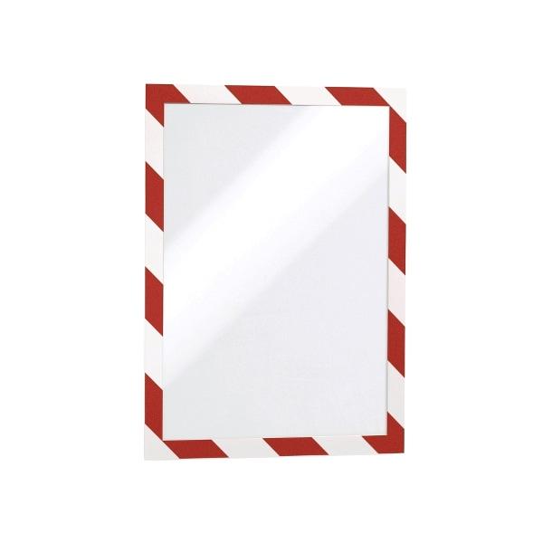 Display magnetic DURABLE Security, A4, 2 bucati, alb-rosu