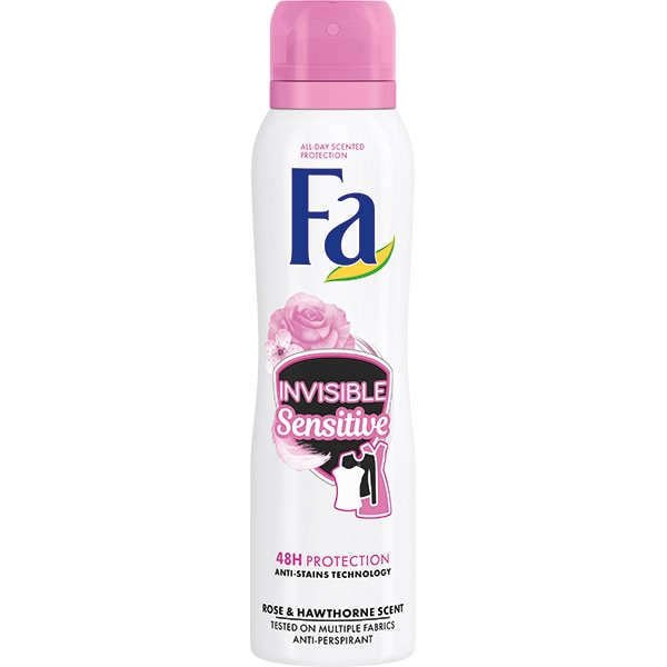 Deodorant spray antiperspirant FA Invisible Sensitive, pentru femei, 150ml